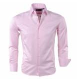 Gasparo Heren overhemd 2knoops kraag slimfit roze