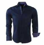 Gasparo Heren overhemd geblokte kraag slimfit blauw