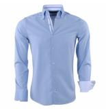 Gasparo Heren overhemd met motief 2knoops kraag slimfit licht blauw