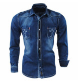 Gasparo Heren overhemd white wash denim blauw