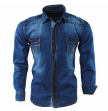 Gasparo Heren overhemd met bruin design white wash denim blauw