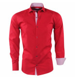 Pradz 2018 Heren overhemd gestreepte kraag slim fit rood