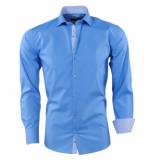 Pradz 2018 Heren overhemd gestreepte kraag slim fit blauw