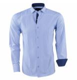 Pradz 2018 Heren overhemd gestreept slim fit blauw