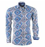 Bravo Jeans Heren overhemd bloemen design slim fit blauw