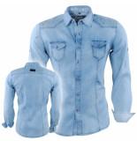 Bravo Jeans Heren overhemd met bloemen in de kraag slim fit paint splash borstzakken blauw