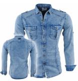 Bravo Jeans Heren overhemd slim fit stretch borstzakken licht blauw