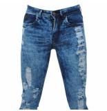 Bravo Jeans Heren jeans damaged look slim fit stretch lengte 34 blauw