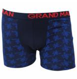 Grand Man Boxershort donker met bloemen motief blauw
