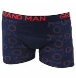 Grand Man Boxershort donker met cirkel motief blauw