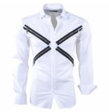 Pradz 2018 Heren overhemd slim fit ritsen wit
