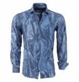 Pradz 2018 Heren overhemd allover print slim fit blauw