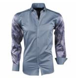 Pradz 2018 Heren overhemd slim fit slangen design donker grijs