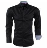 Bravo Jeans Heren overhemd geblokte kraag slim fit zwart