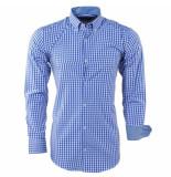 Enrico Polo Heren overhemd geblokt borstzak blauw