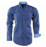 Enrico Polo Heren overhemd gestreept borstzak slim fit blauw