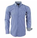 Enrico Polo Heren overhemd gestreept borstzak slim fit wit blauw