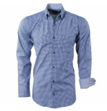 Enrico Polo Heren overhemd geblokt borstzak slim fit blauw