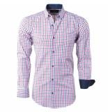 Enrico Polo Heren overhemd geblokt borstzak slim fit bordeaux rood wit