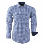 Enrico Polo Heren overhemd geblokt borstzak slim fit navy wit blauw