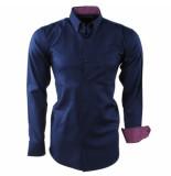 Enrico Polo Heren overhemd geblokte kraag borstzak slim fit blauw