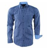 Enrico Polo Heren overhemd geblokt borstzak slim fit navy licht blauw