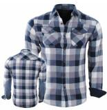MZ72 Flanellen heren overhemd geblokt borstzakken slim fit dialog wit navy blauw