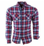 MZ72 Flanellen heren overhemd geblokt borstzakken slim fit date wit rood