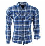 MZ72 Flanellen heren overhemd geblokt borstzakken slim fit date blauw