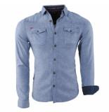 MZ72 Flanellen heren overhemd slim fit borstzakken drank blauw