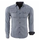 MZ72 Flanellen heren overhemd borstzakken drank grijs