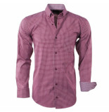 Enrico Polo Heren overhemd geblokt borstzak slim fit bordeaux