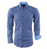 Enrico Polo Heren overhemd geblokt borstzak slim fit wit blauw