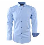 Enrico Polo Heren overhemd geblokte kraag borstzak licht blauw