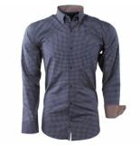 Enrico Polo Heren overhemd geblokt borstzak slim fit navy bruin