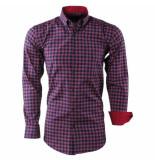 Enrico Polo Heren overhemd geblokt borstzak slim fit rood blauw