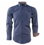 Enrico Polo Heren overhemd gestreept borstzak slim fit bruin blauw