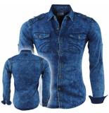 Bravo Jeans Heren overhemd met bloemen in de kraag slim fit stretch borstzakken blauw