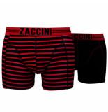 Zaccini 2pack boxershorts uni gestreept rood zwart