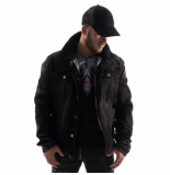 Empire NY Heren denim jacket teddy gevoerd damaged look zwart
