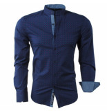 Carisma Heren overhemd gestippeld slim fit stretch blauw