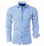 Bravo Jeans Heren overhemd gestreept slim fit wit blauw
