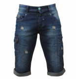 MZ72 Heren bermuda damaged look white wash onaga denim blauw