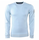 MZ72 Heren trui ronde hals damaged look rits slim fit jets turquoise