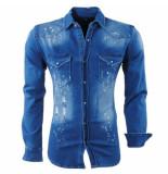 Hite Couture Heren overhemd borstzakken paint splash damaged look stretch celavit blauw
