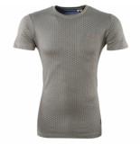 Earthbound Heren tshirt met trendy design ronde hals borstzak kaki khaki