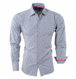 Bravo Jeans Heren overhemd paisley slim fit licht grijs