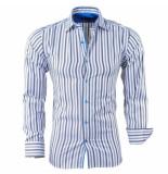 Bravo Jeans Heren overhemd gestreept slim fit grijs wit