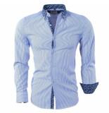Bravo Jeans Heren overhemd met paisley kraag gestreept slim fit blauw wit