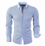 Bravo Jeans Heren overhemd gestreept slim fit navy wit